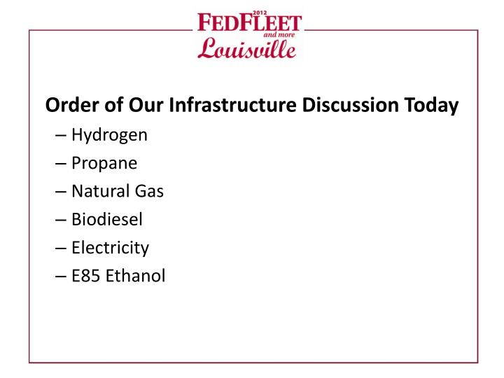 Order of Our Infrastructure Discussion Today