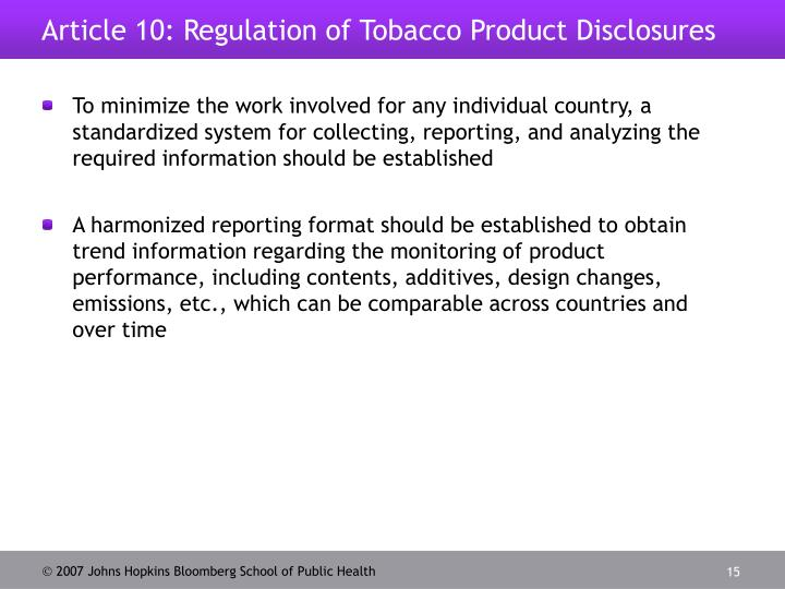 government regulation of tobacco products essay Bus 250 week 3 assignment case study government regulation of tobacco products case study: government regulation of tobacco products 1 would you describe the orientation of reynolds toward tobacco regulation as cooperative or at arm's length.