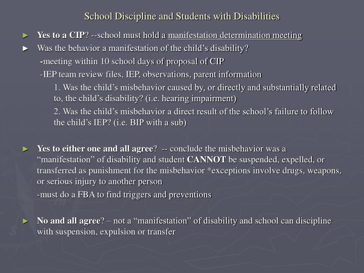 discipline and students with disabilities Students with disabilities are approximately 12 percent of overall student enrollment, yet 28 percent of students with disabilities were referred to law enforcement or arrested in 2015-16 in addition, they were bullied, suspended and expelled at higher rates than children without disabilities.