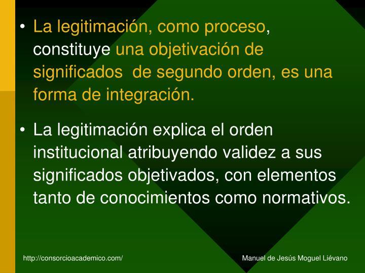 La legitimación, como proceso