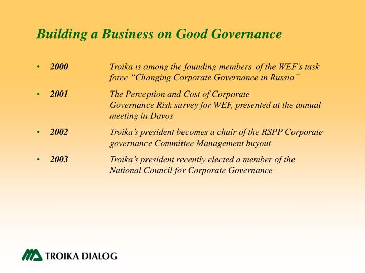 Building a Business on Good Governance