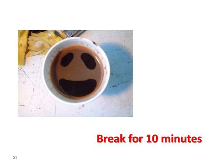 Break for 10 minutes