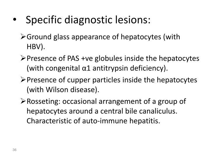 Specific diagnostic lesions