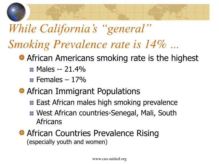 While california s general smoking prevalence rate is 14
