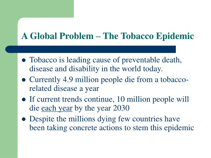 A global problem the tobacco epidemic