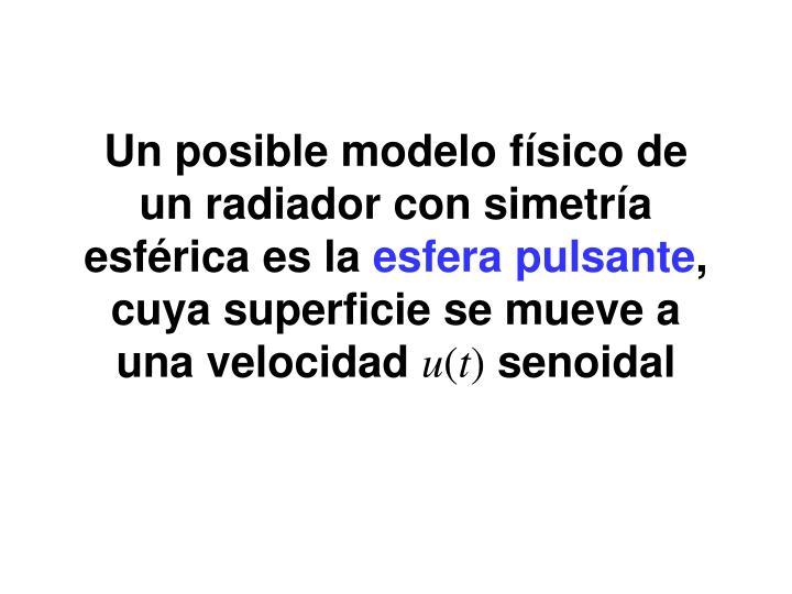 Un posible modelo físico de un radiador con simetría esférica es la