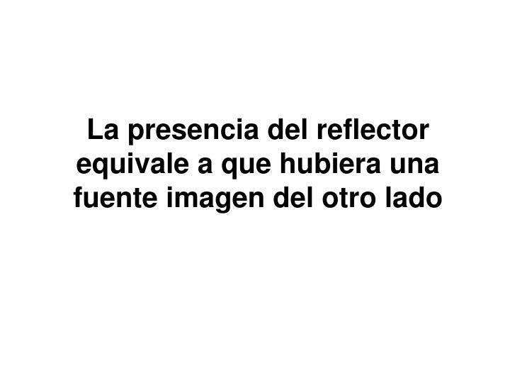 La presencia del reflector equivale a que hubiera una fuente imagen del otro lado
