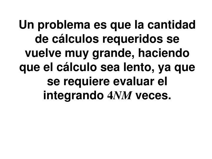 Un problema es que la cantidad de cálculos requeridos se vuelve muy grande, haciendo que el cálculo sea lento, ya que se requiere evaluar el integrando