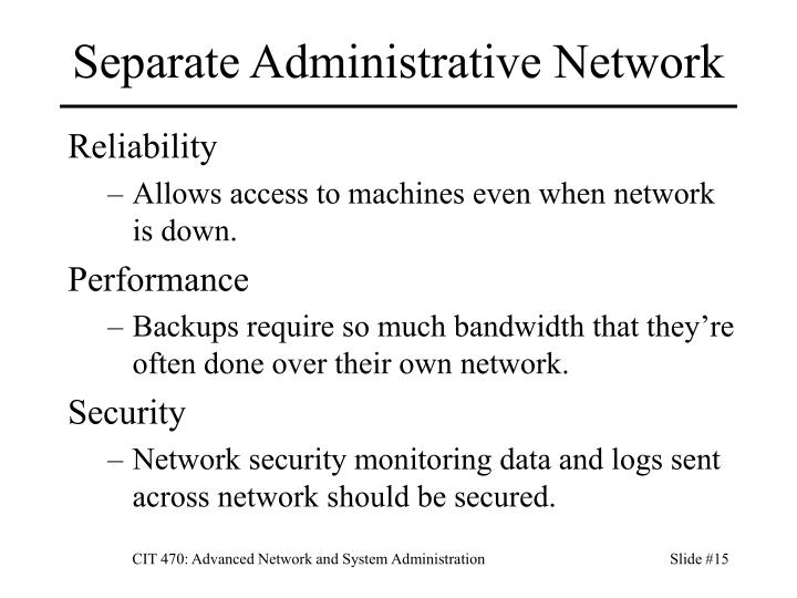 Separate Administrative Network