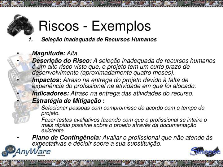 Riscos - Exemplos