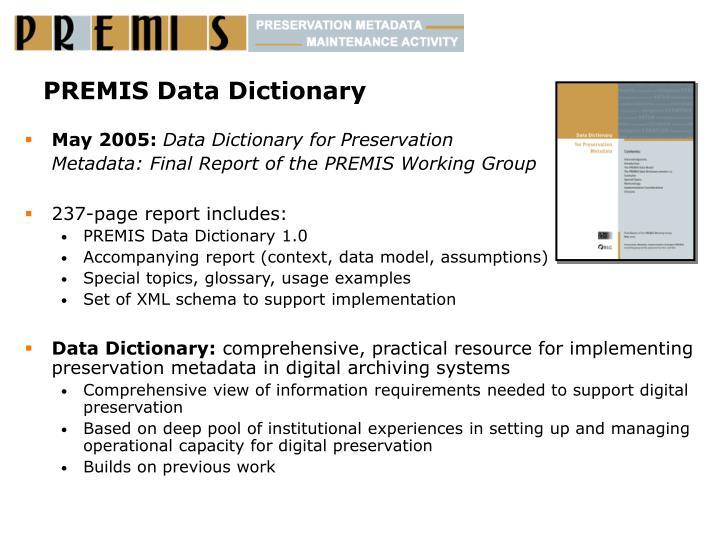 PREMIS Data Dictionary