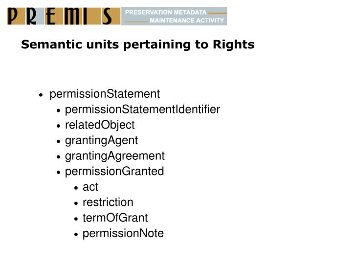 Semantic units pertaining to Rights