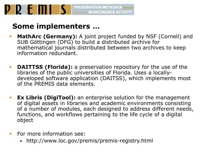 Some implementers …