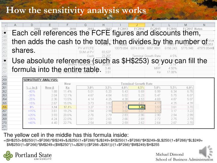 How the sensitivity analysis works