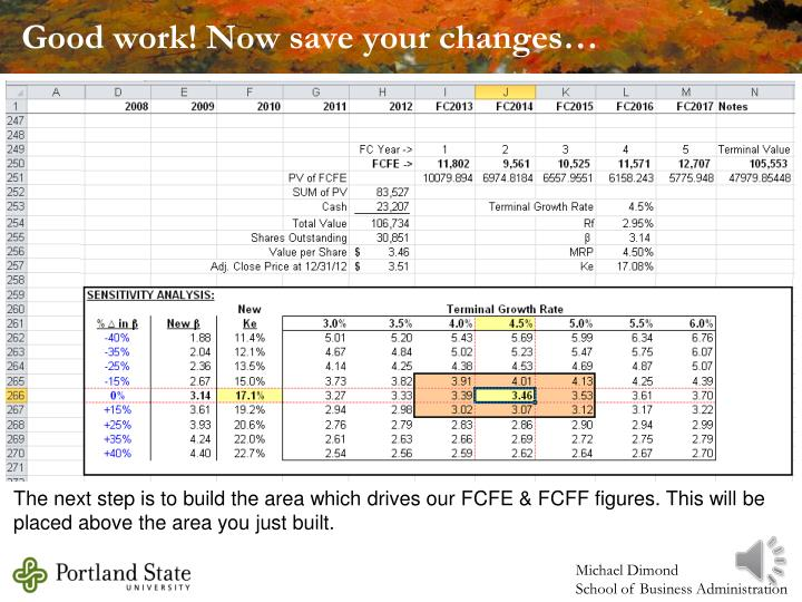 Good work! Now save your changes…