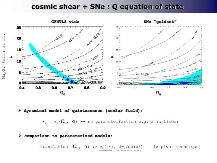 cosmic shear + SNe : Q equation of state