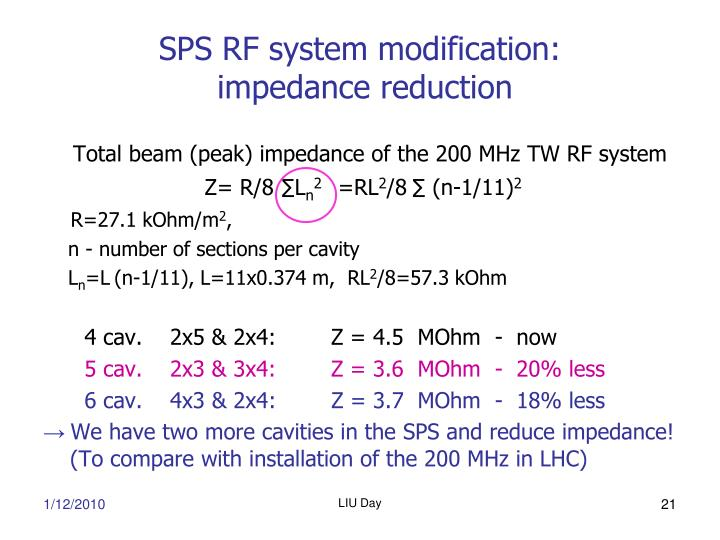 SPS RF system modification: