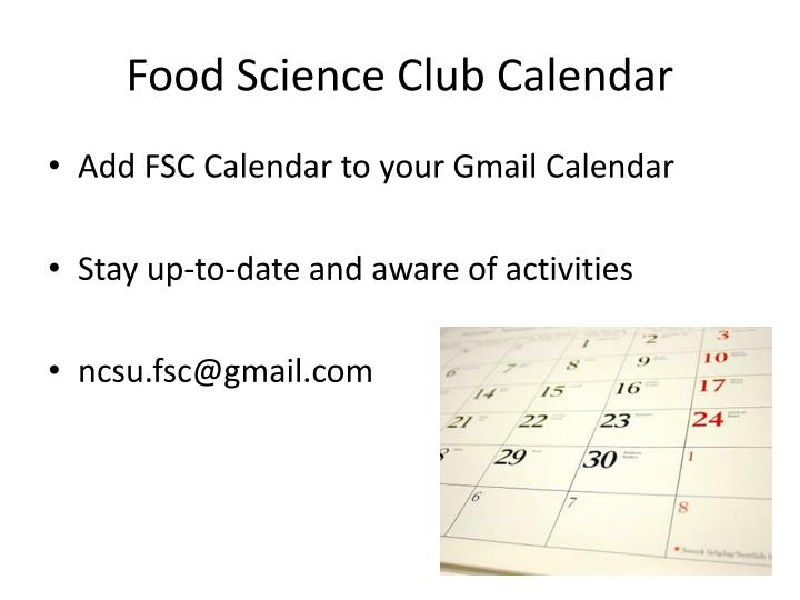 Food science club calendar