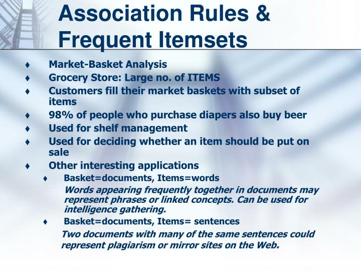 Association rules frequent itemsets