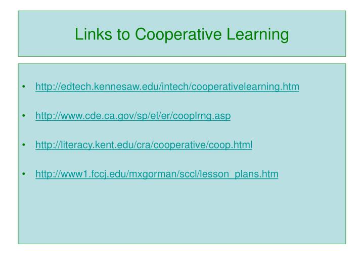 Links to Cooperative Learning
