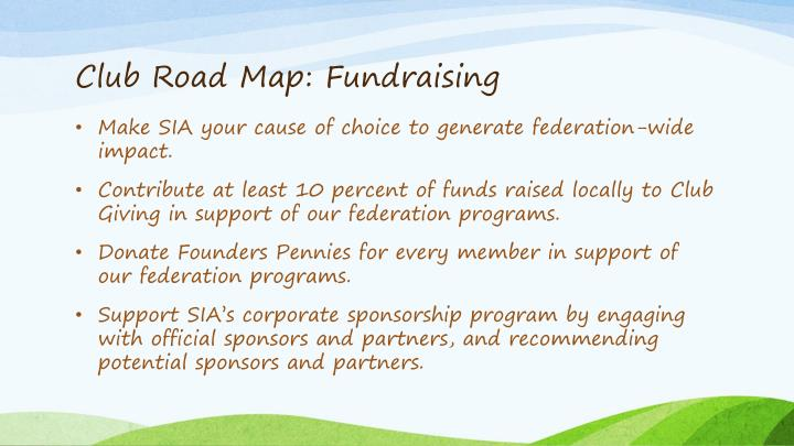 Club Road Map: Fundraising