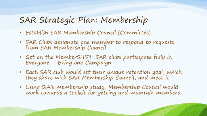 SAR Strategic Plan: Membership
