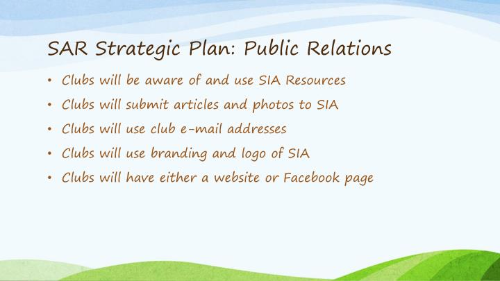 SAR Strategic Plan: Public Relations