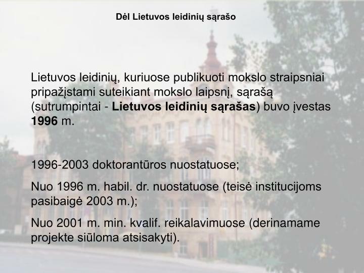 Dėl Lietuvos leidinių sąrašo