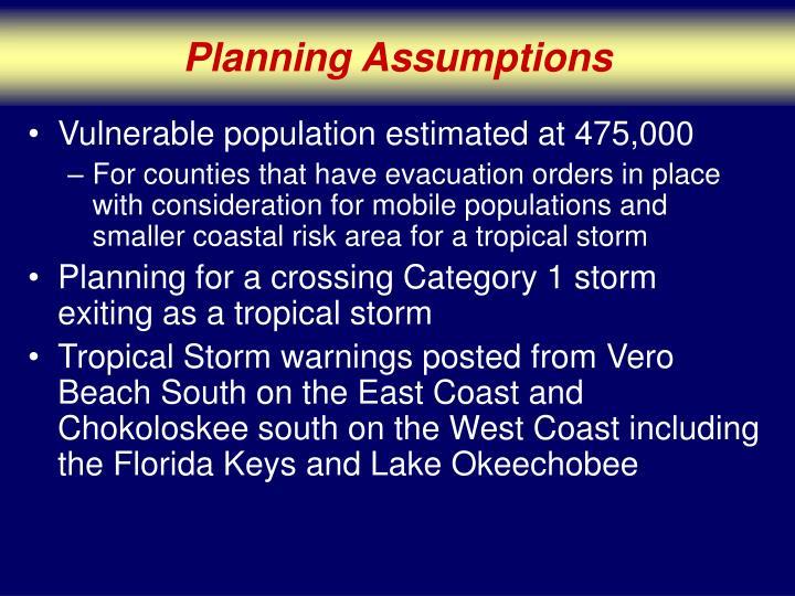 Planning Assumptions