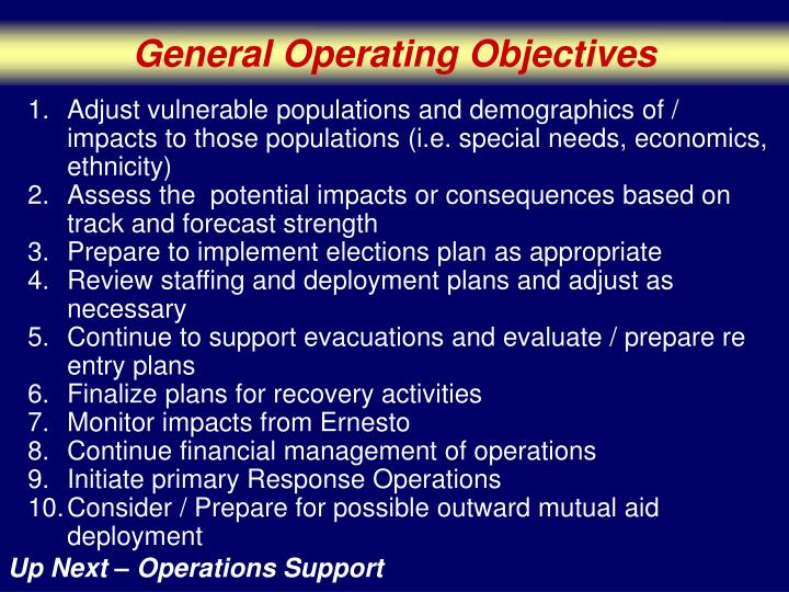 General Operating Objectives