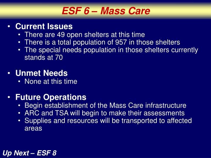 ESF 6 – Mass Care