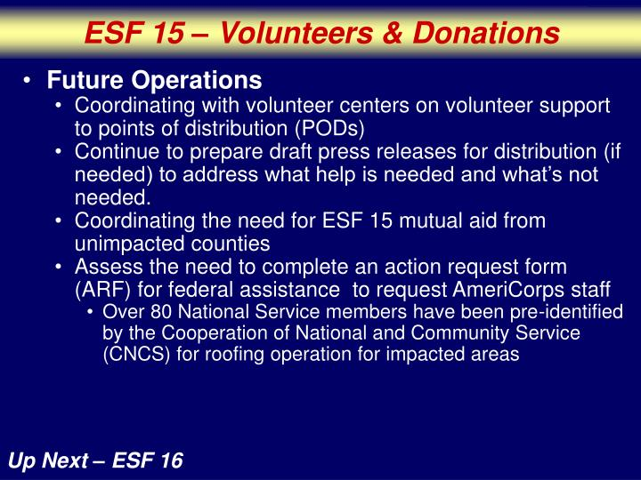 ESF 15 – Volunteers & Donations