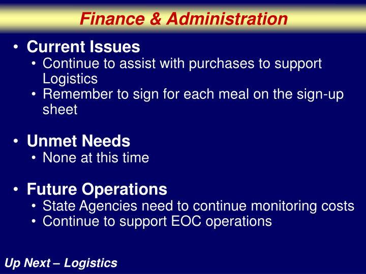 Finance & Administration