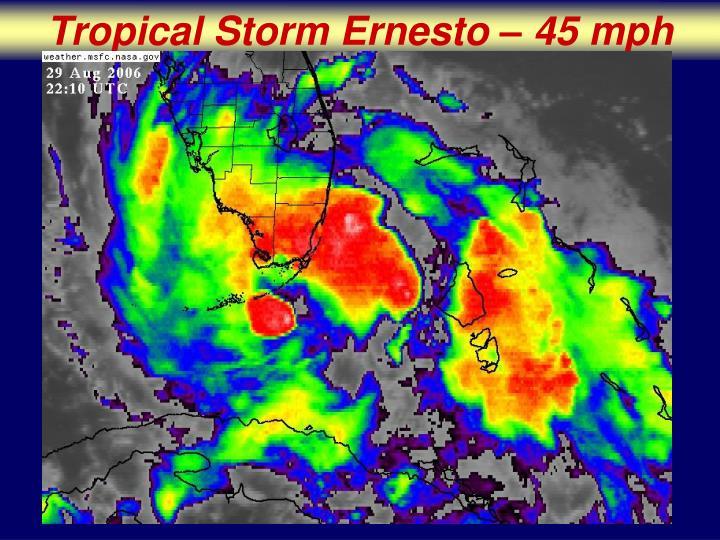 Tropical Storm Ernesto – 45 mph