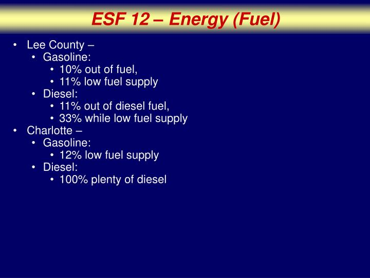 ESF 12 – Energy (Fuel)