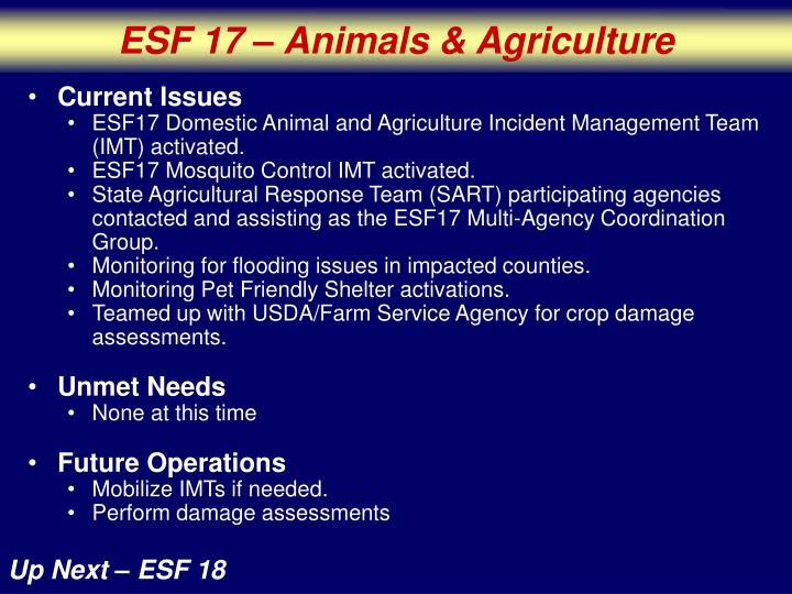 ESF 17 – Animals & Agriculture