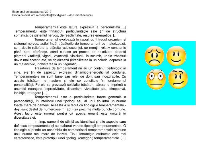 Examenul de bacalaureat 2010 proba de evaluare a competen elor digitale document de lucru
