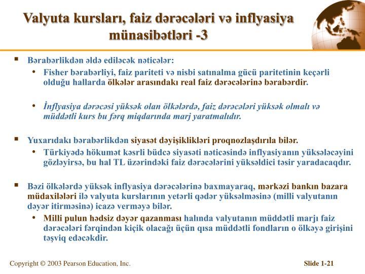 Valyuta kursları, faiz dərəcələri və inflyasiya münasibətləri -3