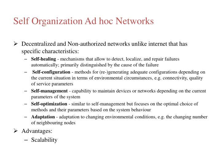 Self Organization Ad hoc Networks