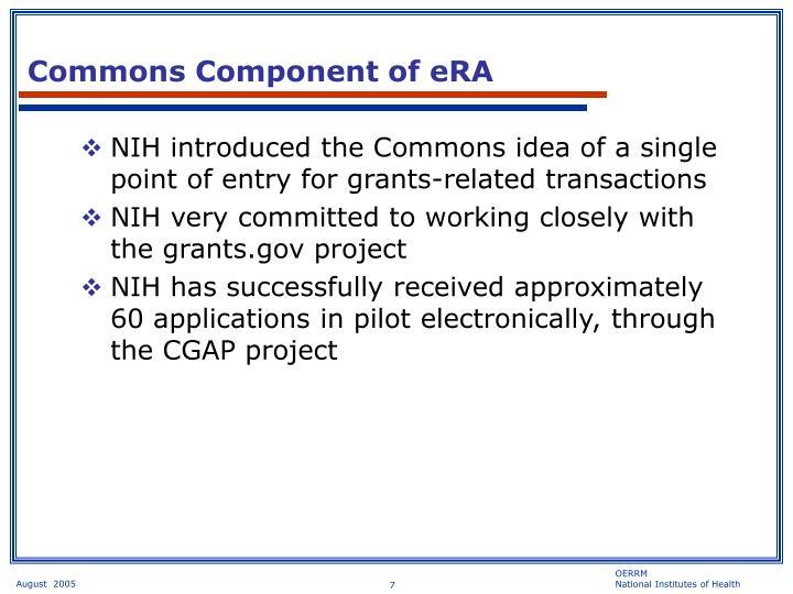 Commons Component of eRA