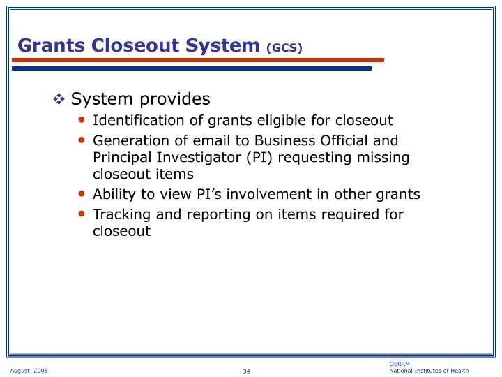 Grants Closeout System