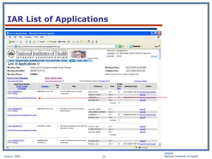 IAR List of Applications