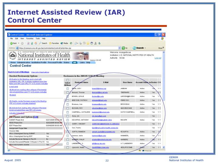 Internet Assisted Review (IAR)