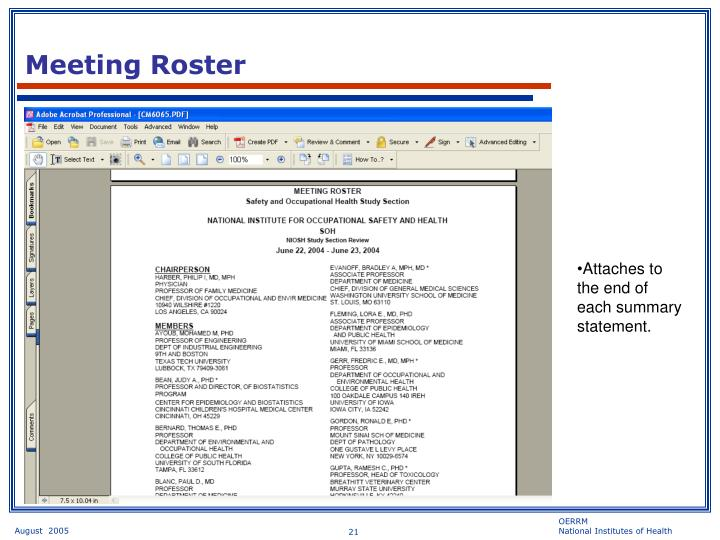 Meeting Roster