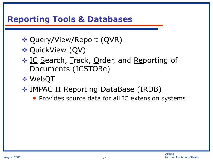 Reporting Tools & Databases