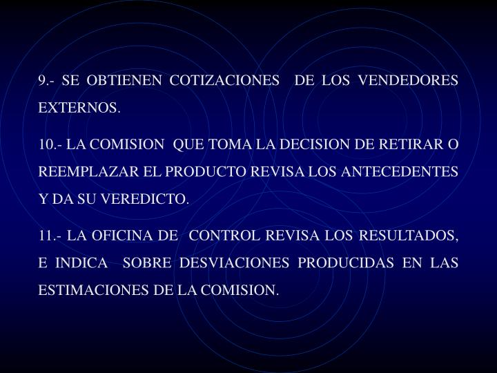 9.- SE OBTIENEN COTIZACIONES  DE LOS VENDEDORES EXTERNOS.