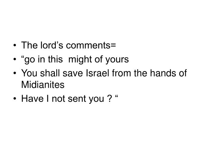 The lord's comments=