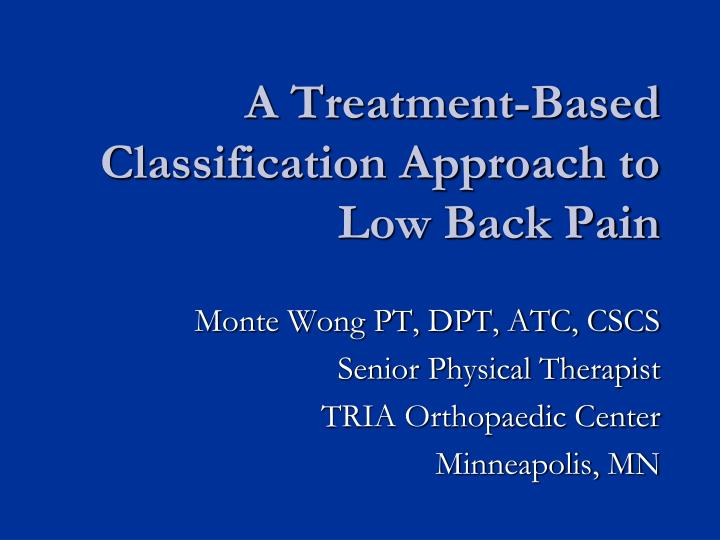 a treatment based classification approach to low back pain n.