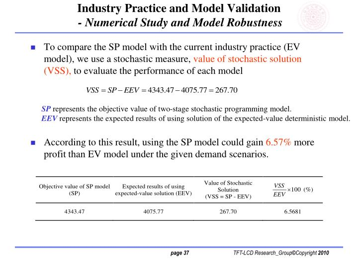 Industry Practice and Model Validation