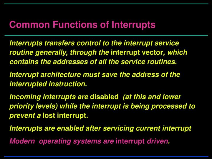 Common Functions of Interrupts